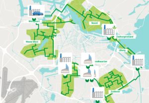 A map of district heating in Amsterdam